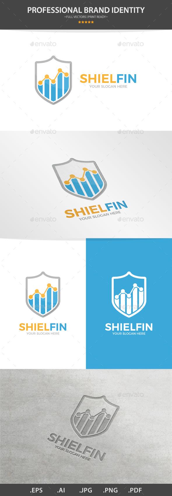 Vector Logo Combination Of a Graph And Shield - Nature Logo Templates