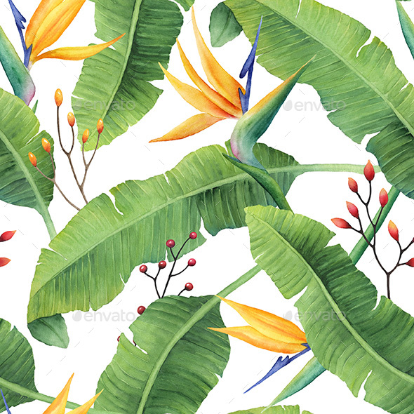 Watercolor Banana Leaves Pattern - Patterns Backgrounds