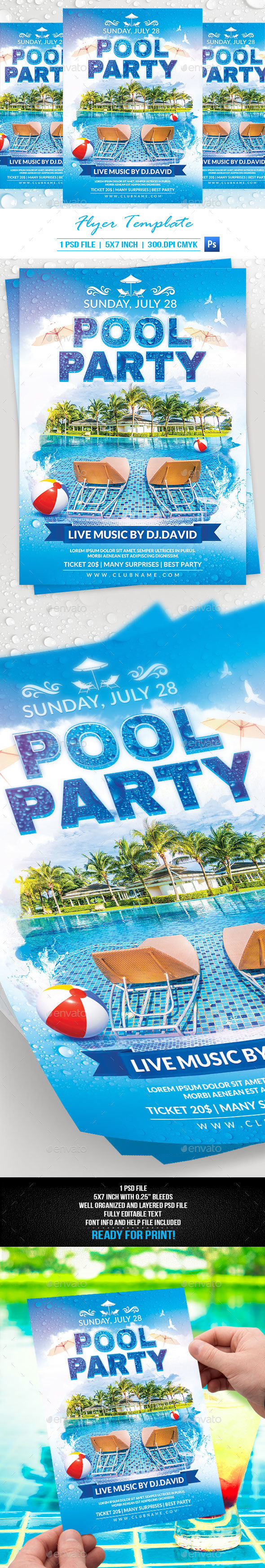 Pool Party Flyer Template - Events Flyers