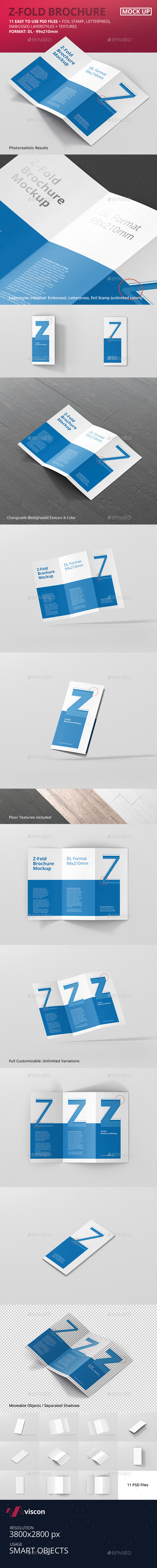 DL Z-Fold Brochure Mockup - 99x210mm - Brochures Print
