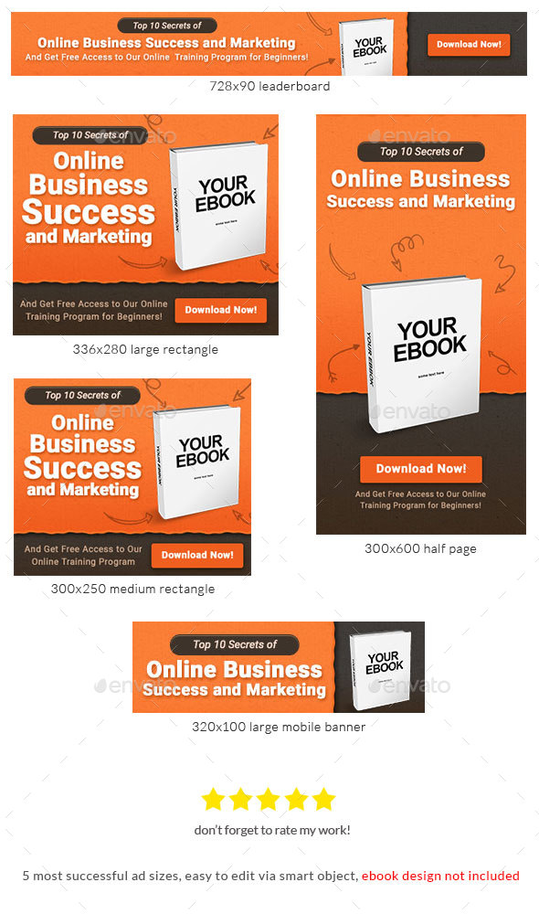 Ebook Banner Ad Template - Banners & Ads Web Elements