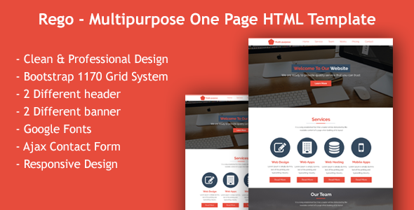 Rego- Multi Purpose Single Page HTML Template - Corporate Site Templates