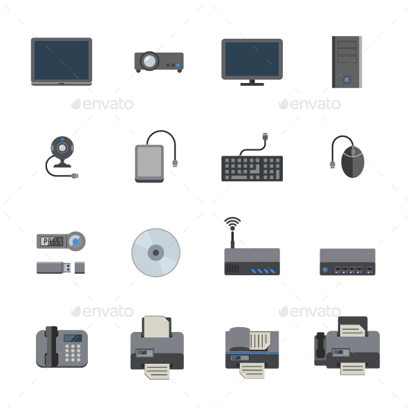 Computer and Hardware Devices Icons - Technology Icons
