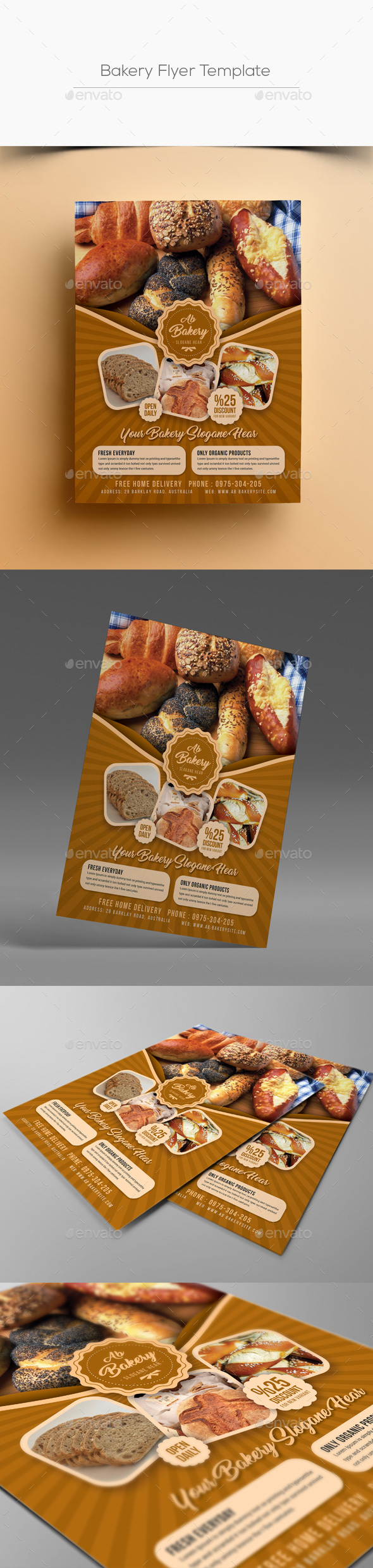 Bakery Flyer Template By Designsoul GraphicRiver - Bakery brochure template