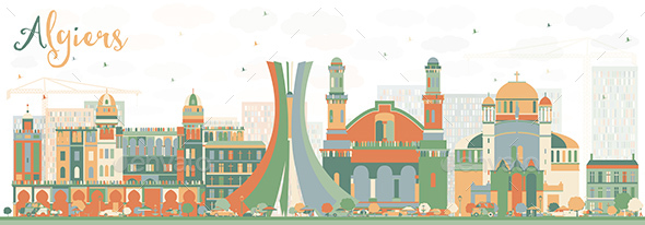 Abstract Algiers Skyline with Color Buildings - Buildings Objects