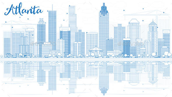 Outline Atlanta Skyline with Blue Buildings and Reflections - Buildings Objects