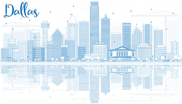 Outline Dallas Skyline with Blue Buildings and Reflections - Buildings Objects