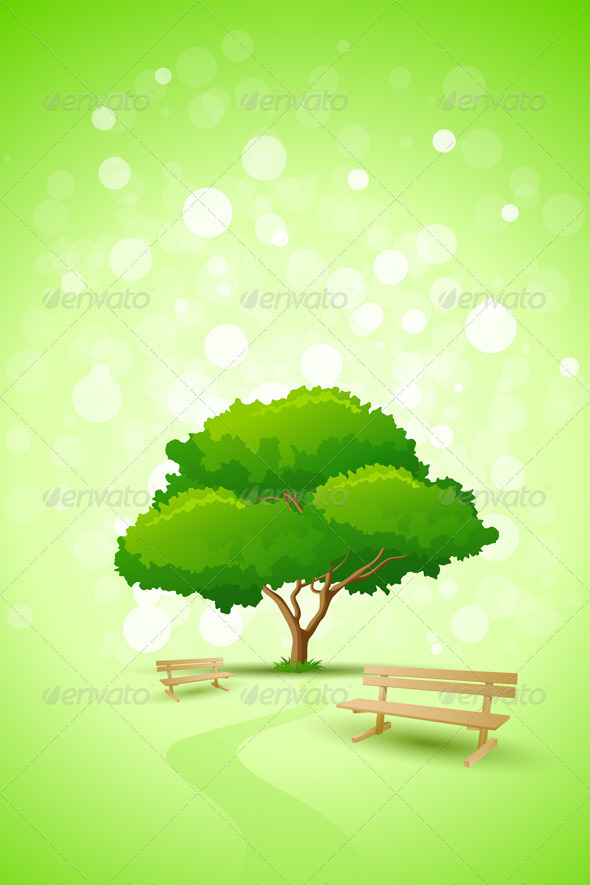 Abstract Green Tree Background with Bench - Nature Conceptual