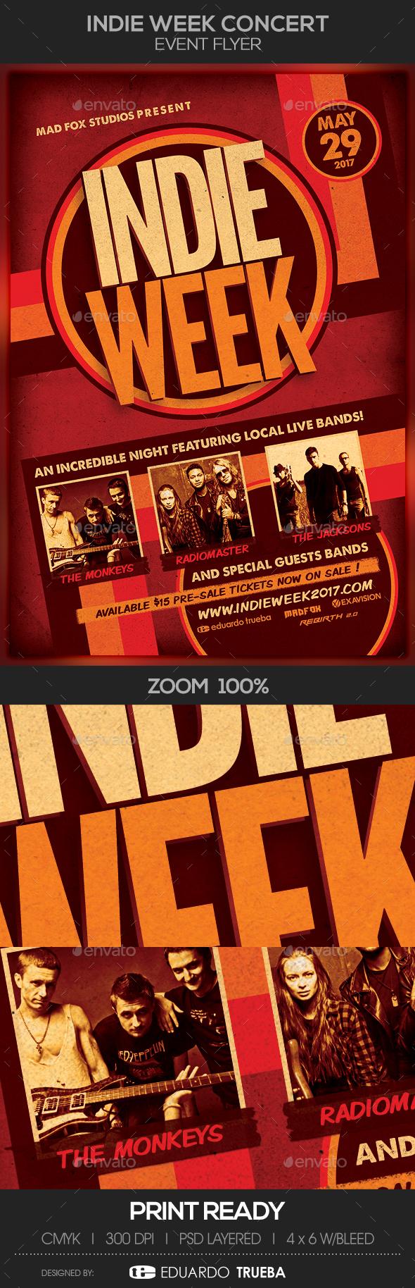 Indie Week Concert Event Flyer - Concerts Events