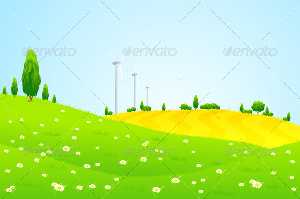 Green Landscape with Wind Power Station Trees - Landscapes Nature