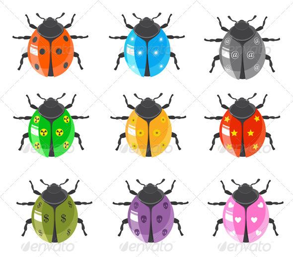 Ladybug Insect Glossy Icon Set - Animals Characters