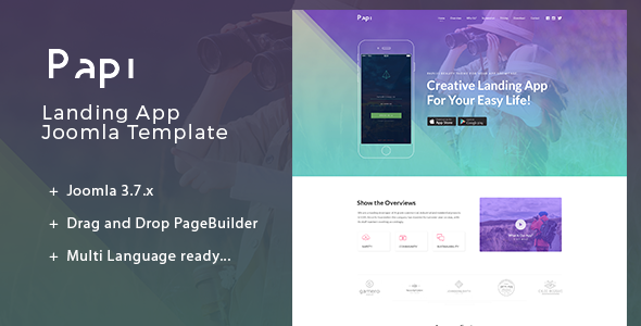 Image of Papi | Multi-Language Landing App Joomla Template