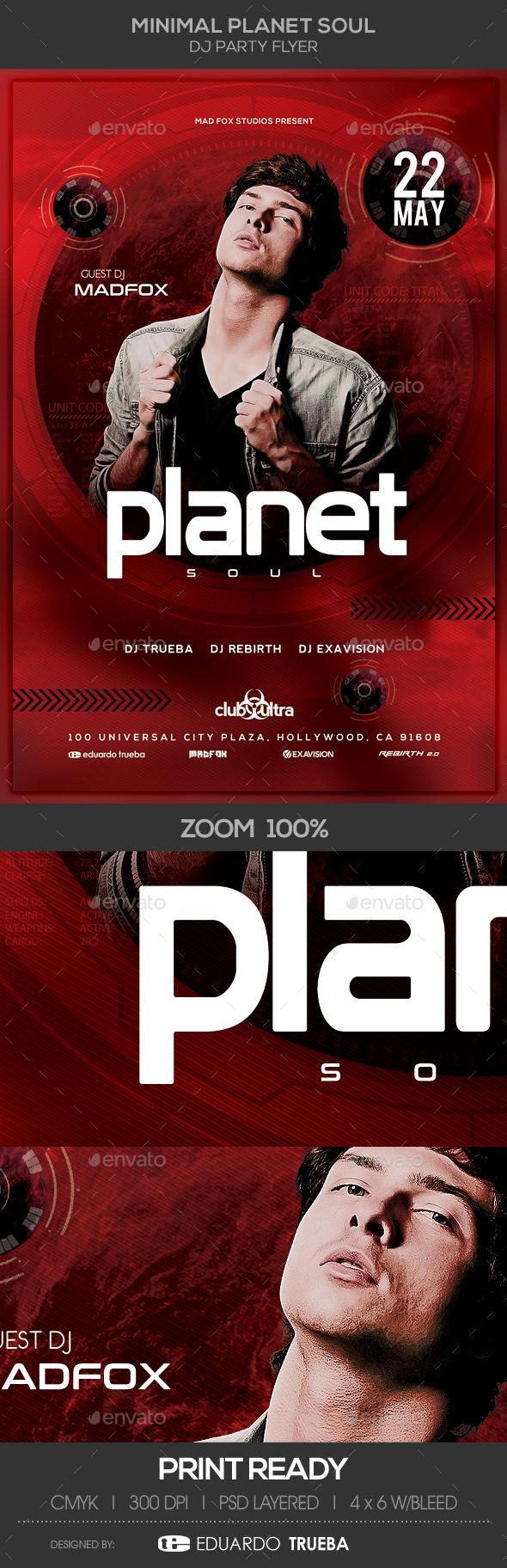 Minimal Planet Soul Dj Party Flyer - Clubs & Parties Events