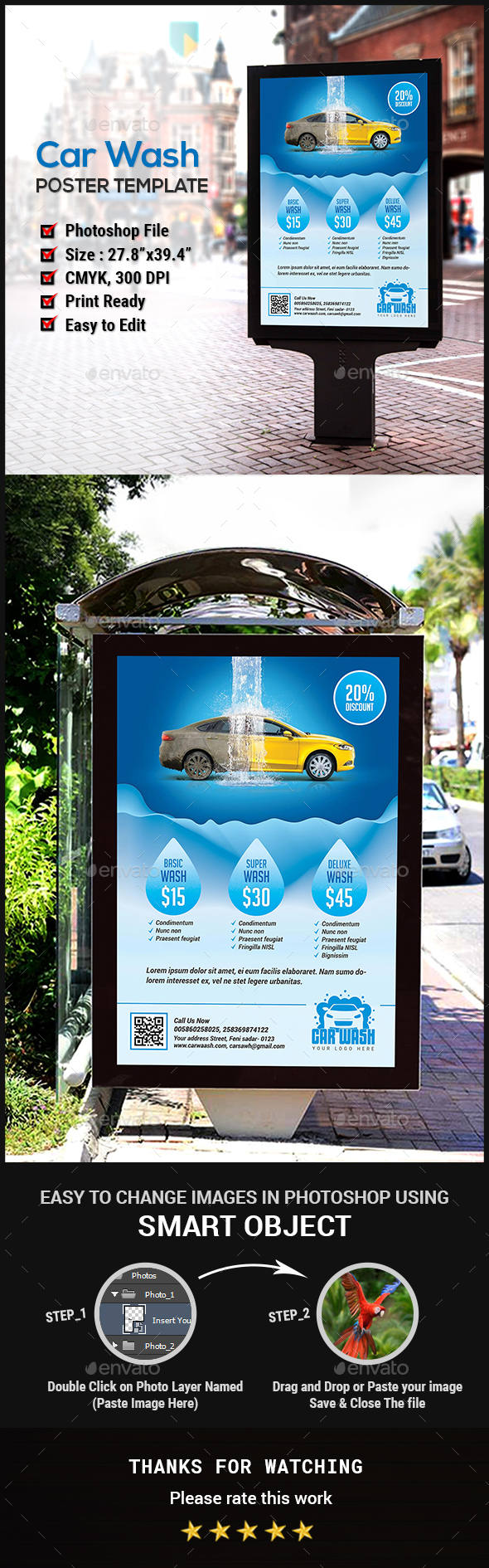 Car Wash Poster - Signage Print Templates