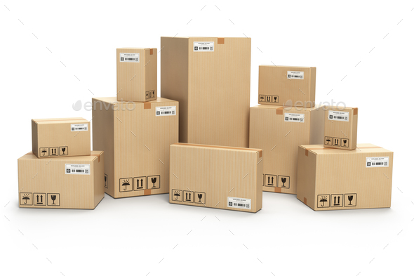 Cardboard boxes isolated on white. Delivery, cargo, logistic and - Stock Photo - Images