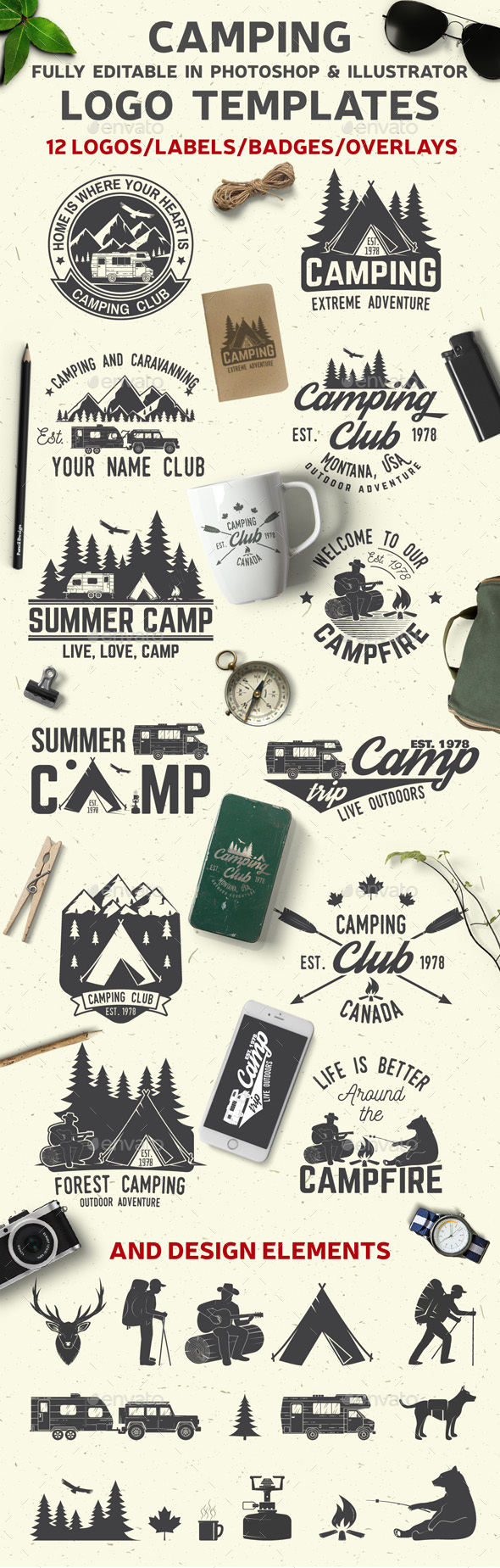 Camping Club - Badges & Stickers Web Elements
