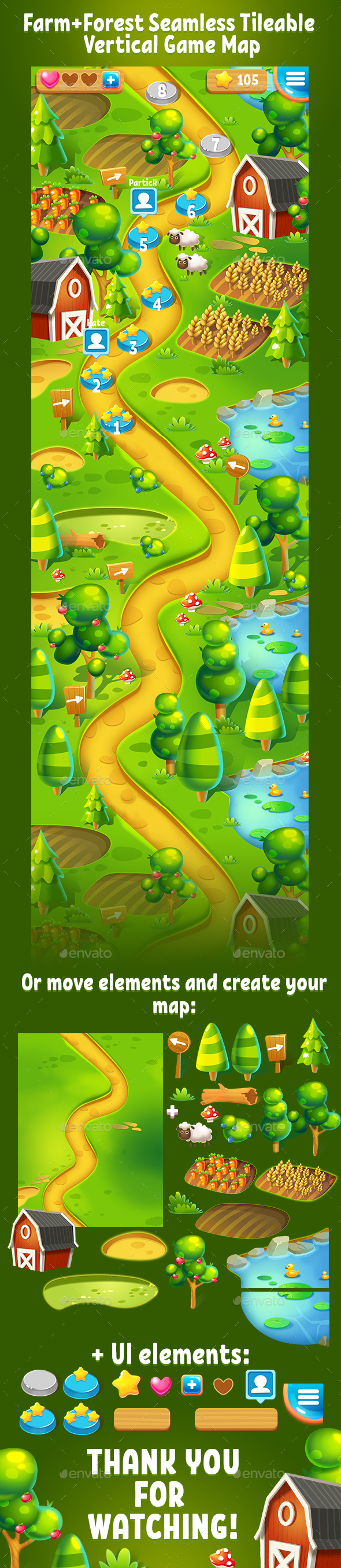 Farm and Forest Tileable Seamless Vertical Game Map - Miscellaneous Game Assets