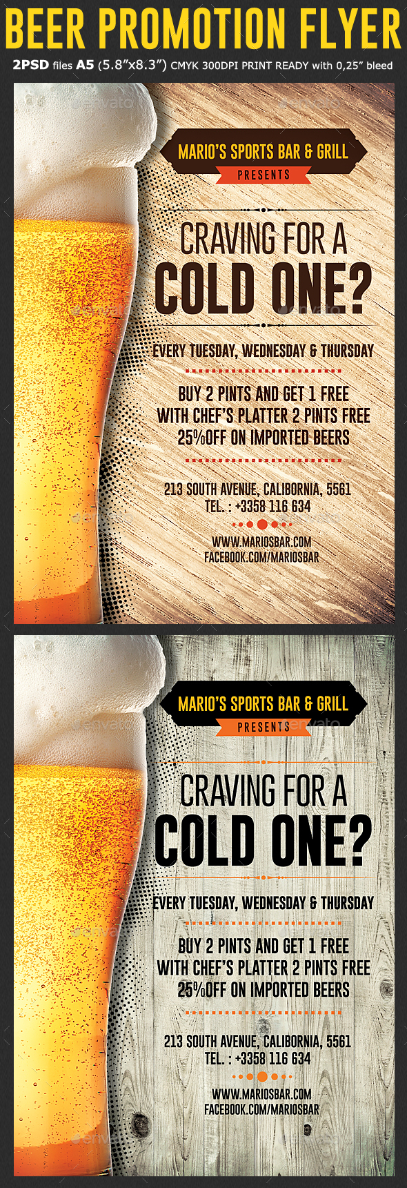 Beer Promotion Happy Hour Flyer Template - Flyers Print Templates