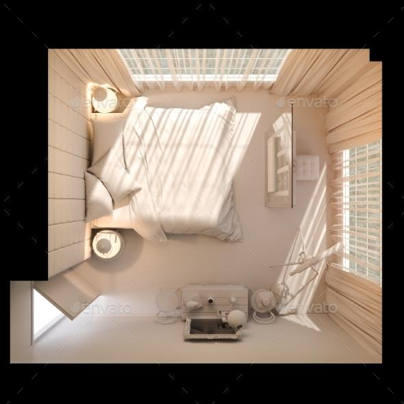 3d Render of Bedroom Interior Design in Top View - Architecture 3D Renders
