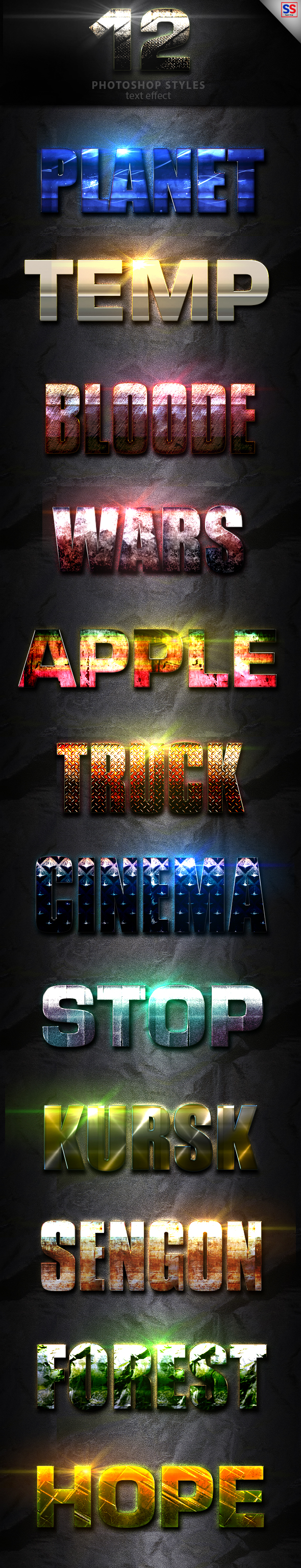 12 Light Photoshop text Effect Vol 14 - Text Effects Styles