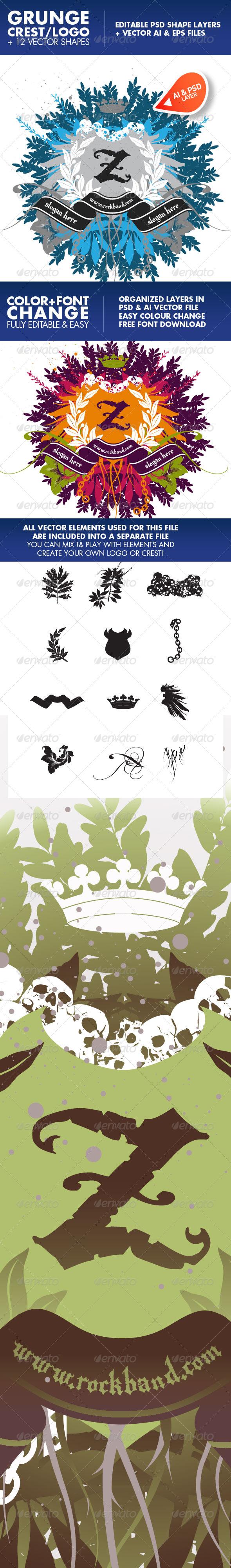 Rockcrest. A vector + psd crest logo and elements - Decorative Vectors
