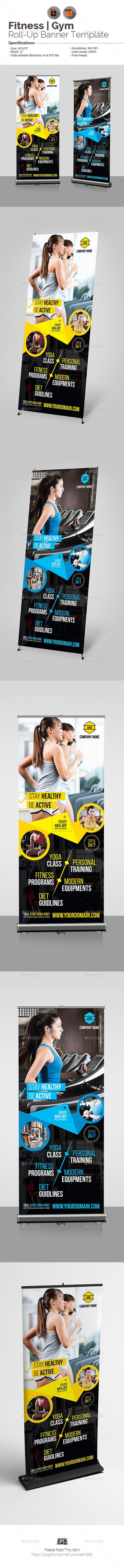 Fitness - Gym Roll-Up Banner - Signage Print Templates