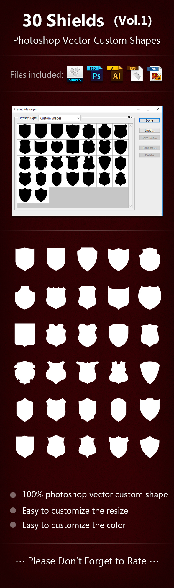 30 Shields Photoshop Vector Custom Shapes - Miscellaneous Shapes