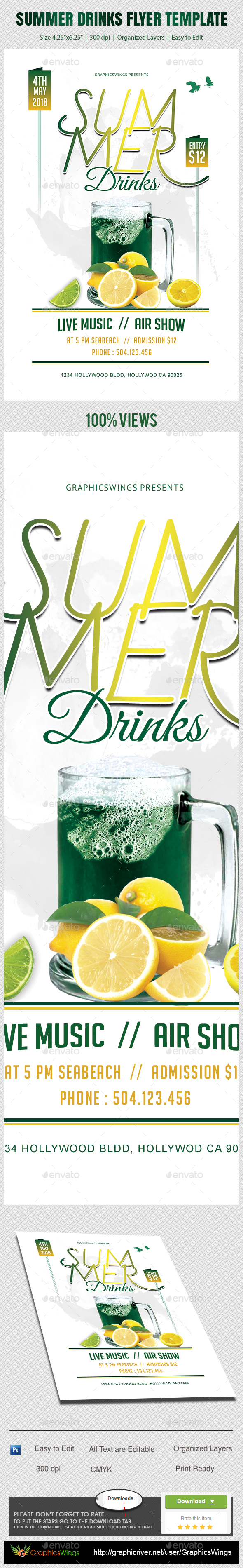 Summer Drinks Flyer Template - Clubs & Parties Events