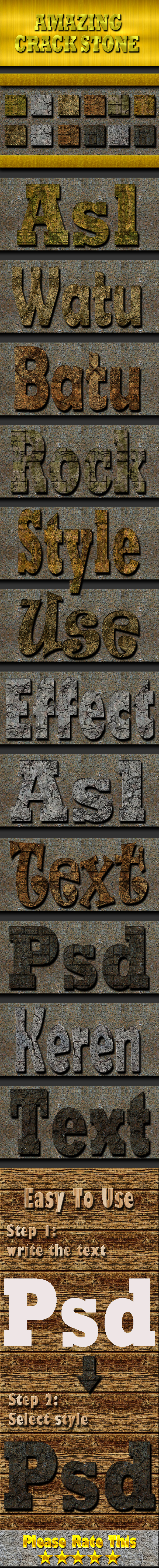 Cracked Stone Text Effect Style Vol 2 - Styles Photoshop