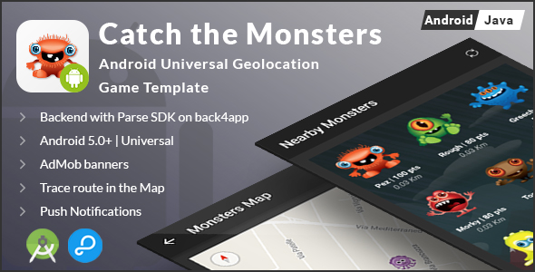 Catch The Monsters | Android Universal Geolocation Game Template - CodeCanyon Item for Sale