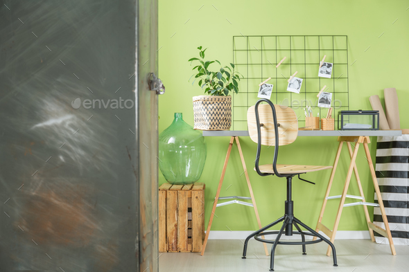 Green room with metal furniture - Stock Photo - Images