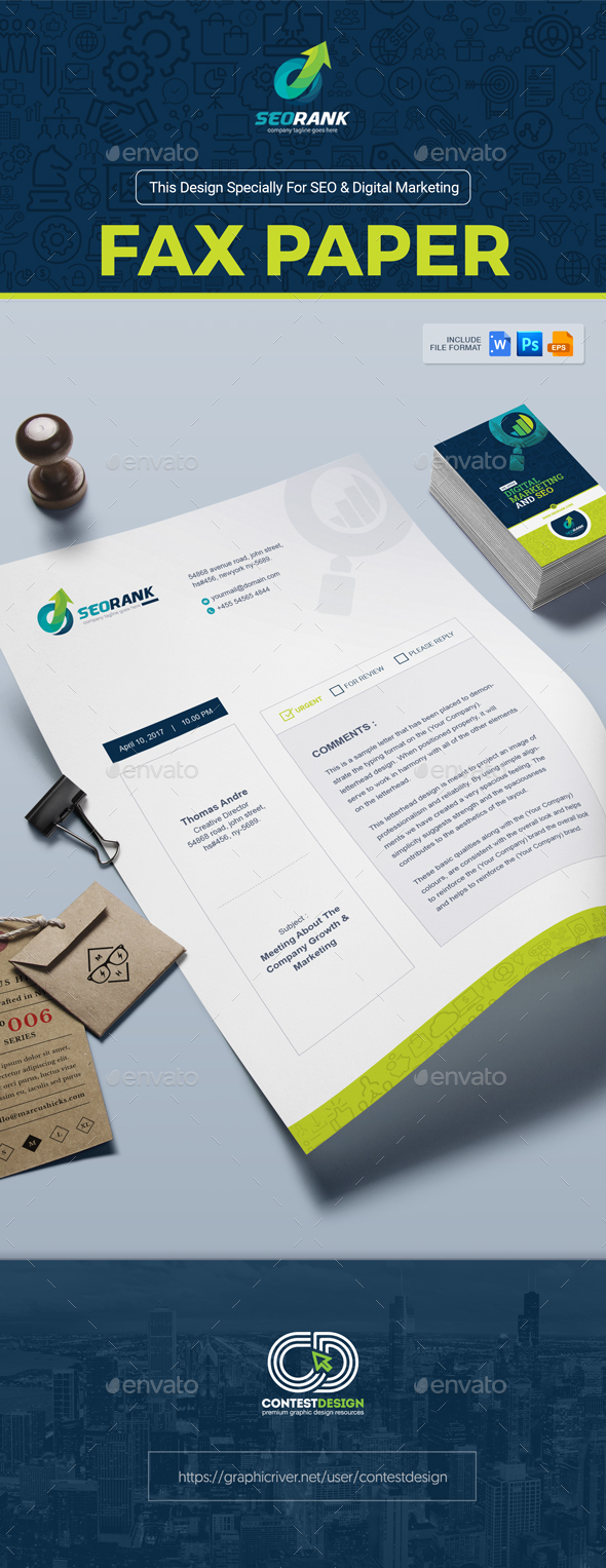 Fax Paper / Cover Sheet Template for SEO (Search Engine Optimization) & Digital Marketing Agency - Stationery Print Templates