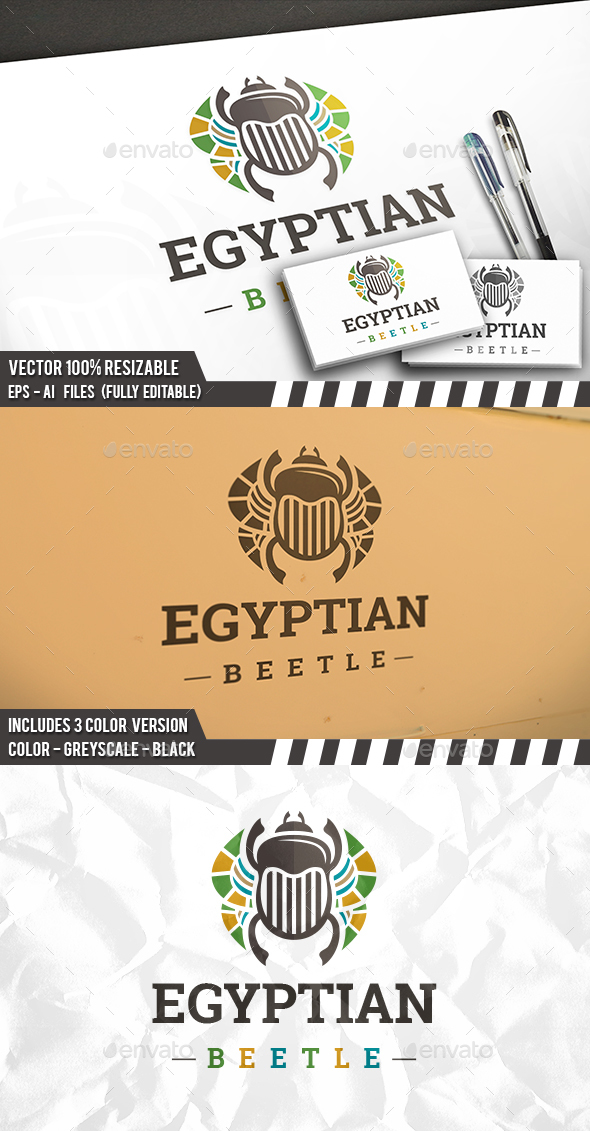 Egyptian Beetle Logo - Animals Logo Templates