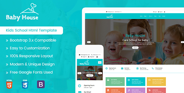 Baby House – Kids School, Kinder Garden and Play School Multipurpose HTML5 Template