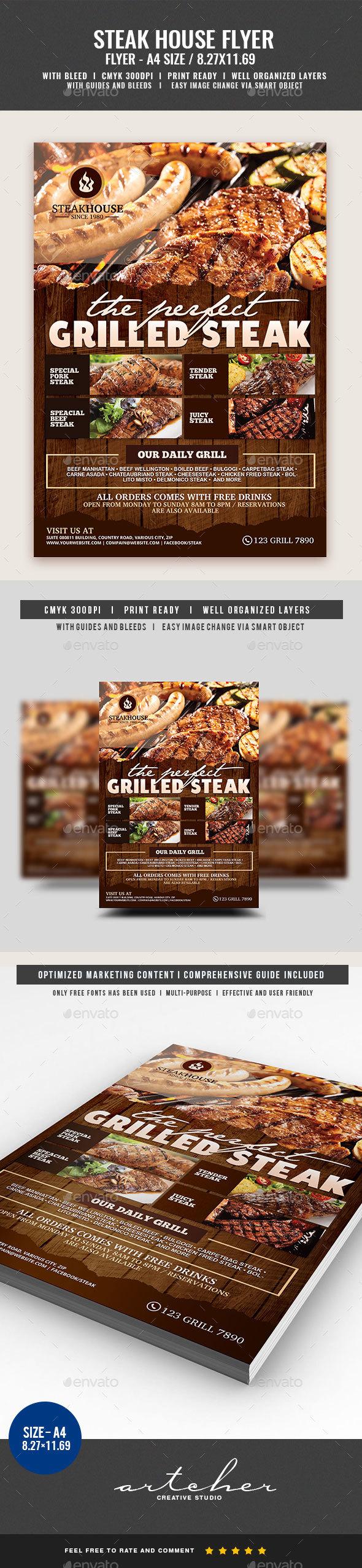 Steakhouse Restaurant Flyer - Restaurant Flyers