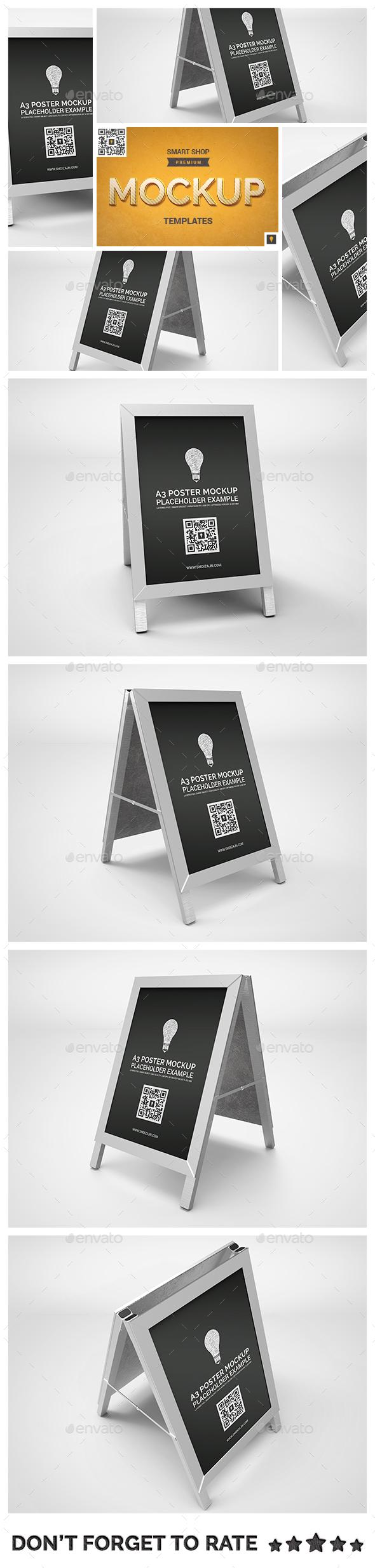 Poster Stand Display Mockup - Signage Print