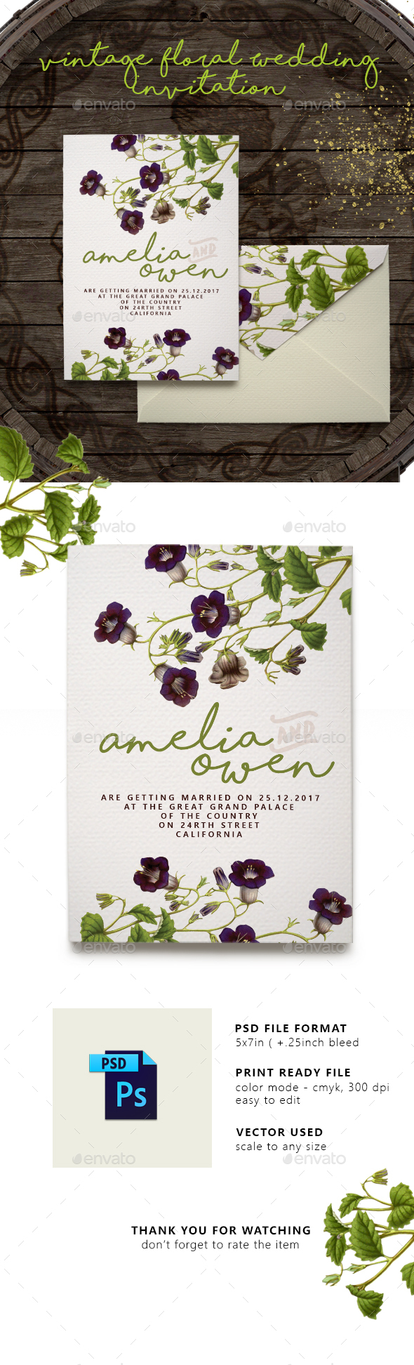 Vintage Floral Wedding Invitation - Weddings Cards & Invites