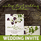 Vintage Floral Wedding Invitation - GraphicRiver Item for Sale