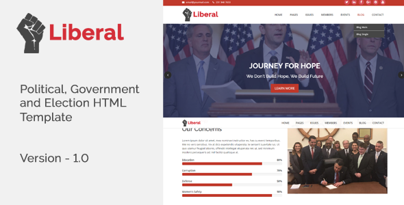 Liberal – Political, Government and Election HTML Template