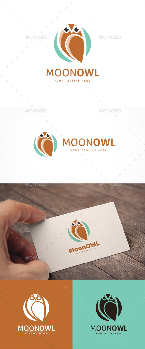 Moon Owl Logo - Animals Logo Templates