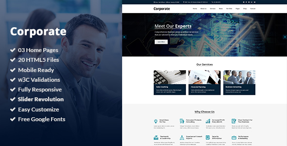 Corporate is a clean HTML5/CSS3 Template suitable for Business, Professional, Company and Consulting Services. You can customize it very easy to fit your needs