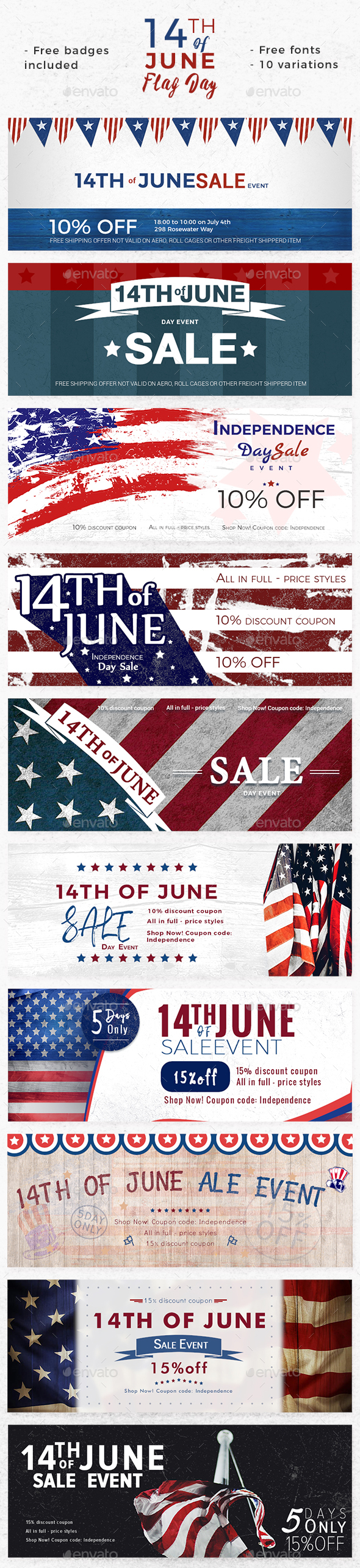 Promote 14th of June Flag Day - Banners - Banners & Ads Web Elements