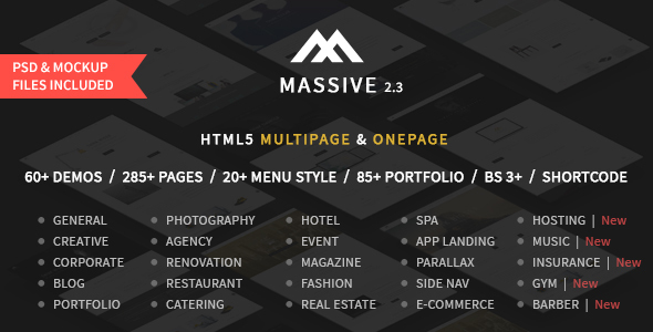 Massive - Responsive Multi-Purpose HTML5 Template - Corporate Site Templates