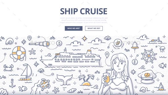 Ship Cruise Doodle Concept - Travel Conceptual