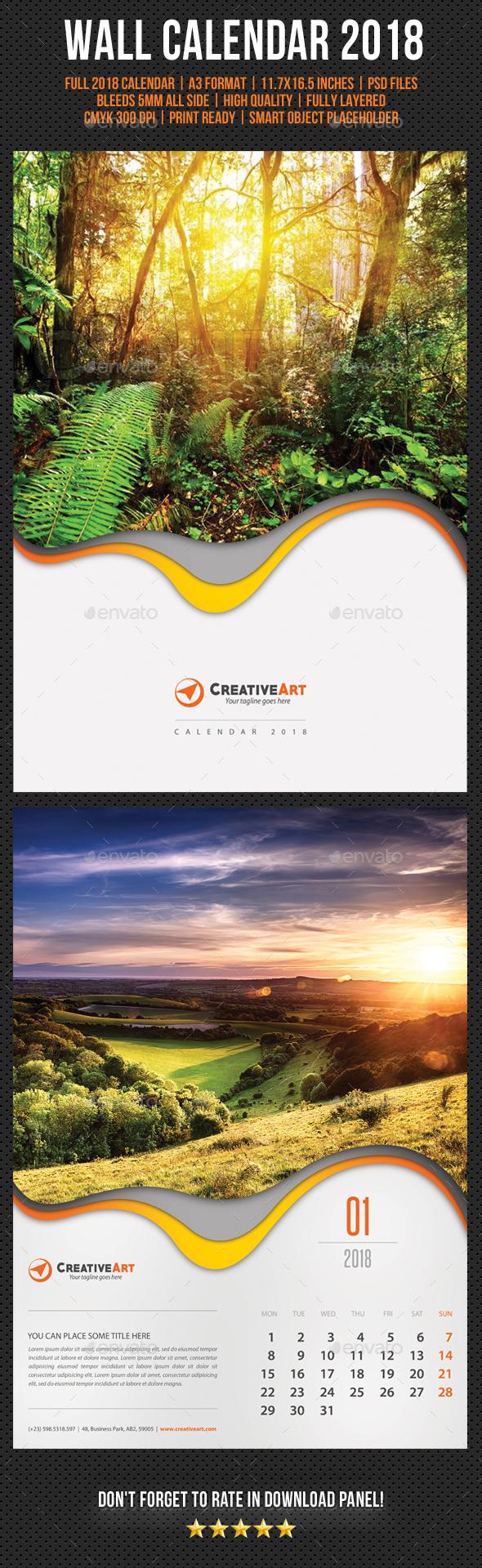 Creative Wall Calendar 2018 V01 - Calendars Stationery