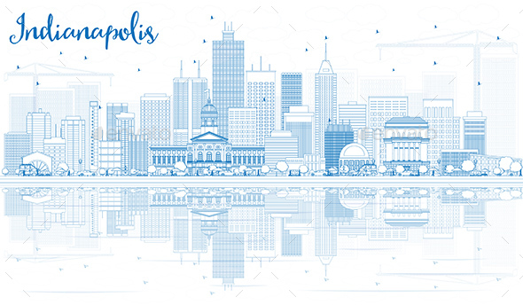 Outline Indianapolis Skyline with Blue Buildings and Reflections. - Buildings Objects