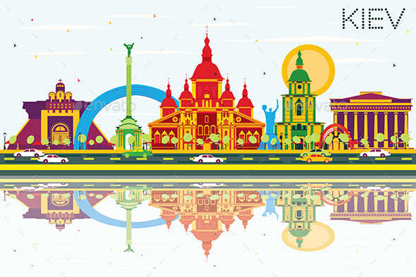 Kiev Skyline with Color Buildings, Blue Sky and Reflections. - Buildings Objects