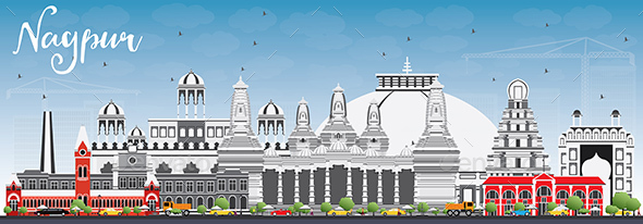 Nagpur Skyline with Gray Buildings and Blue Sky. - Buildings Objects