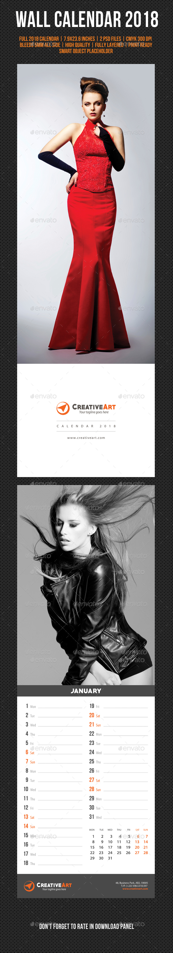 Creative Wall Calendar 2018 V05 - Calendars Stationery