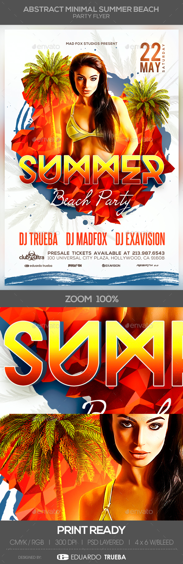 Abstract Minimal Summer Beach Party Flyer - Clubs & Parties Events